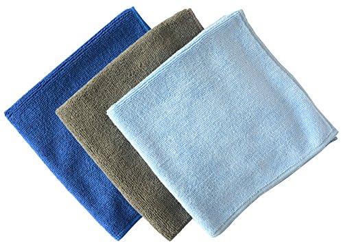 SINLAND Multi-purpose Microfiber Car Cleaning Cloths Absorbent & Fast Drying Towels (16inchx16inch, 1 Grey+1 Dark Blue+1 Light Blue)