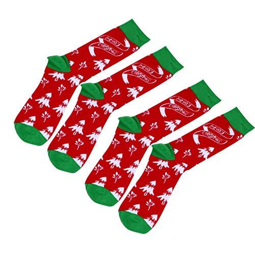 SOIMISS 2 pares de meias longas de Natal com estampa de árvore de Natal, meias de algodão quentes para o inverno, sacos de festa de Natal (tamanho livre)