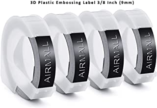 Airmall 4 Rolls Replace Dymo Embossing Tape 3D Plastic Label Tapes 520109 Black Glossy Finish Self-Adhesive Label for Embossing Label Makers, 3/8 Inch x 9.8 Feet