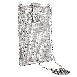 Abcolour Metal Mesh With Rhinestones Crossbody Mobile Purse