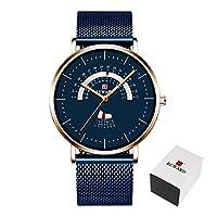 YIBOKANG メンズビジネスカジュアル30メートル防水日クォーツウォッチファッションスポーツの創造的なダイヤルデザインステンレス鋼の美しいギフト腕時計 (Color : 青)