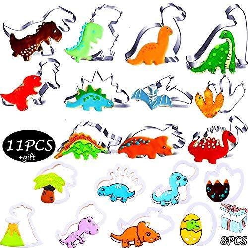 Nifogo Molde para Galletas, Juego de Cortadores Galletas, Moldes de Dinosaurios para Pastel,Moldes para Galletas de Dinosaurio,Moldes Galletas Infantiles,Dinosaurio Molde(19PCS)