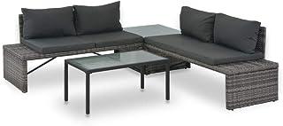 Tidyard Conjunto Muebles de Jardín de Ratán 3 Piezas con Mesa y Cojines,Sofa Exterior para Jardín Terraza Patio,Ratán Sintético Gris
