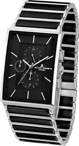 Jacques Lemans Herren Chronograph Quarz Smart Watch Armbanduhr mit Keramik Armband 1-1817A