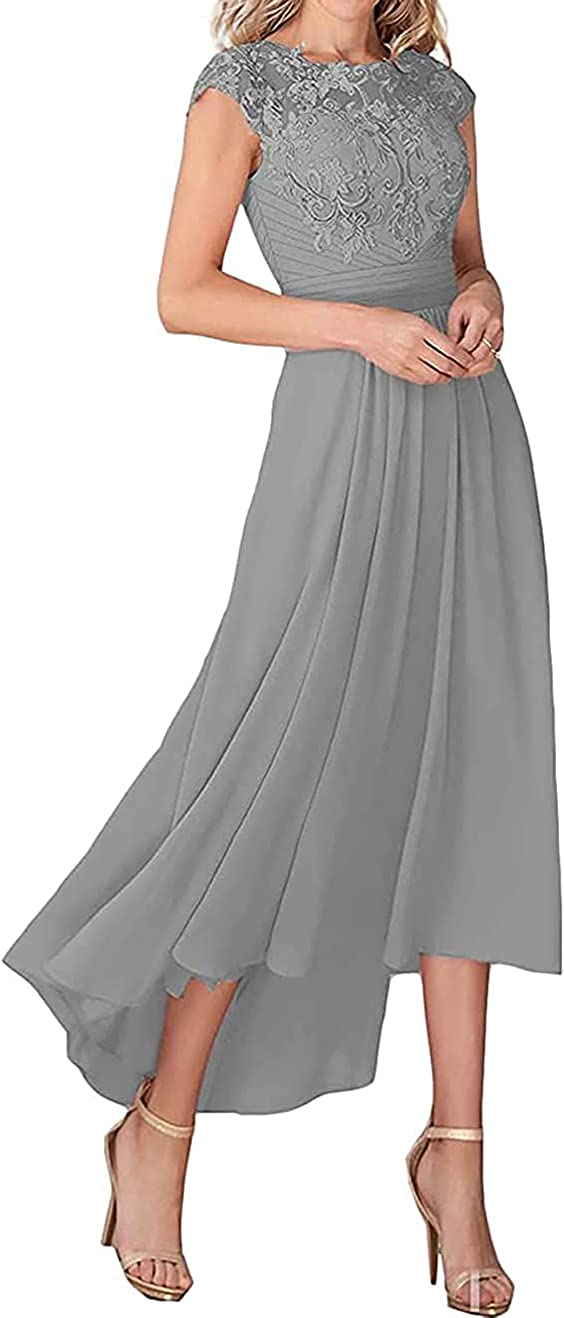 UHEGDRR Mother of The Bride Dress Cap Sleeve lace Chiffon Formal Evening Gown