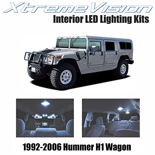 XtremeVision Interior LED for Hummer H1 Wagon 1992-2006 (14 Pieces) Cool White Interior LED Kit + Installation Tool