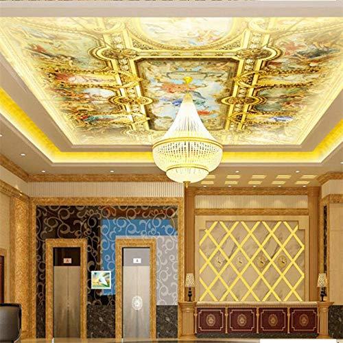 LYBSSG Papel tapiz fotográfico tridimensional personalizado 3d hotel europeo palacio dorado techo techo murales techo papel de pared 3d-300x210cm