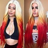 Wig Simulación Cuero Cabelludo Señora Pelo Set Degradado Color Grande Ondulación Peluca De Pelo Un WIG-142 Cabello Recto