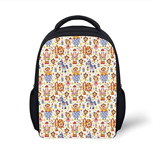 Kids School Backpack Kids,Carnival Circus Theme with Cheerful Mascots Monkey Lion Bunny Acrobat Girl and Clown,Multicolor Plain Bookbag Travel Daypack