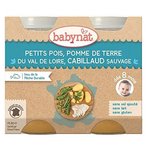 Babybio Petit Pot Petits Pois Pomme De Terre/Cabillaud - 8+ Mois - 200 G - Pack de 2