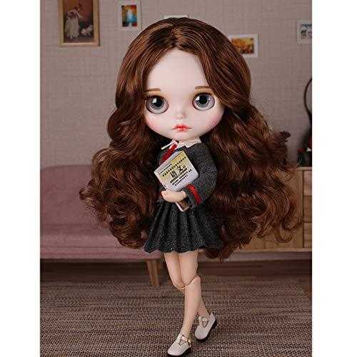HYZM Doll 1/6, 19 Joints Blythe Puppe Body + Make-up Gesicht + Vollständige Kleidung + 4 Farben Augen + 9 Paar Hände, Braunes, lockiges Haar