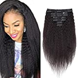 55cm - Clip Extension Capelli Veri Afro Kinky Straight 8 Fasce Double Weft 18 Clips #Nero Naturale 120g Capelli Umani Full Head