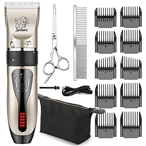 Yabife Dog Clippers, USB Rechargeable Cordless Dog Grooming Kit, Electric Pets Hair Trimmers Shaver Shears for Dogs and Cats, Quiet, Washable, with LED Display (Gold)