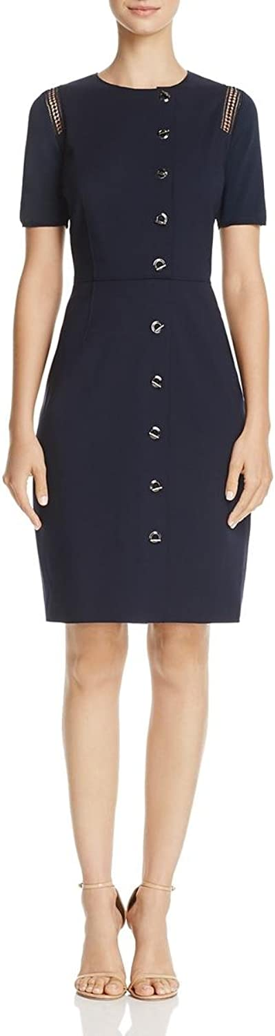 Elie Tahari Womens Tarina Toggle Front Crochet Trim Wear to Work Dress