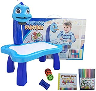 KIDS Projector PAINTING DESK Drawing Board Table With Projection Function Children Painting Table Educational Toys - Blue