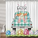 JAWO Oster-Duschvorhang für Badezimmer, niedliches Häschen-Hasen-Blau, Büffel-kariert, LKW-Urlaub, Stoff-Duschvorhänge-Set, Frühlings-Badezimmer-Zubehör, inklusive Haken (69 B x 72 H)