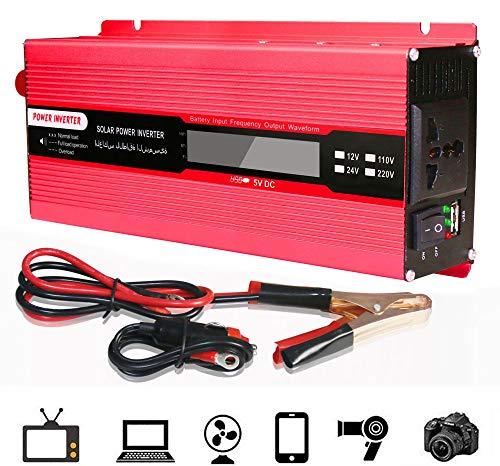 Spannungswandler 12V 230V Sinus,3000W Spannungswandler Wechselrichter DC 12V auf AC 230V Mit 4.8A USB Anschluss - Laden Sie Ihr Laptop,Ipad,Ihre Konsole und Mehr - BestäNdig und Leistungsstark,2000W