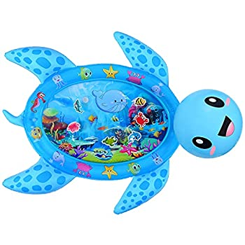MAGIFIRE Tummy Time Water Mat,Inflatable Baby Water Mat Newborn Infant Toys Gifts for 3 6 9 18 Months Boy Girl Sea Turtle Shape