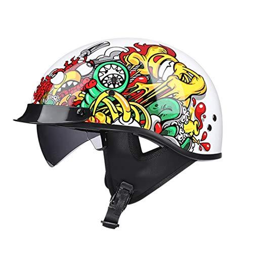 Casco de Motocicleta de Media Cara Vintage Graffiti de Moda Casco de Choque de Cara Abierta con Visera de Sol Interna Casco de Motocicleta Scooter