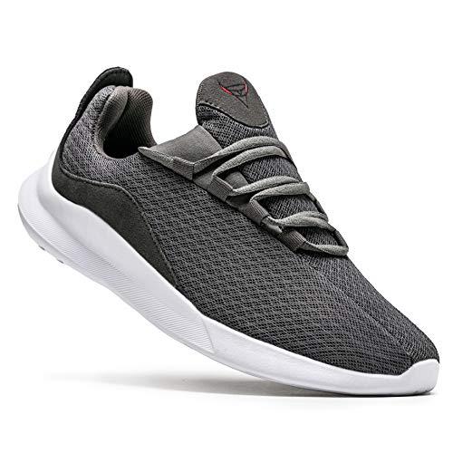 KUTHAENDO Laufschuhe Herren Running Schuhe Sportschuhe Straßenlaufschuhe Sneaker Outdoor Fitness Tennisschuhe Walkingschuhe Trainieren Turnschuhe Joggingschuhe,Grau,11 UK/ 46