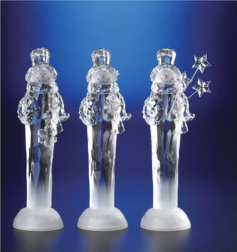 Pack of 6 ICY Crystal Illuminated Snowmen Christmas with Gift Fi Safety and trust Kansas City Mall