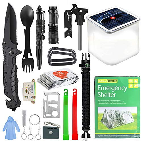 SUPOLOGY Camping Accessories Survival Gear Kit, 20 In 1 Emergency Kits Tactical Gear with Solar Camping Lantern and Shelter for Hunting, Fishing, Adventures, Backpack, Hurricane, Best Gift for Men Dad