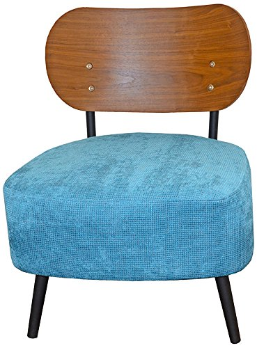 Tuoni Ora Sessel mit Rückenlehne aus Holz,Eiche, Sitzfläche aus Stoff, Gestell aus Metall 58x64x72 cm hellblau