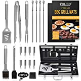 POLIGO 21pcs Stainless Steel BBQ Tool Set with BBQ Grill Mats - Premium BBQ Accessories Set Gifts for Dad Men...