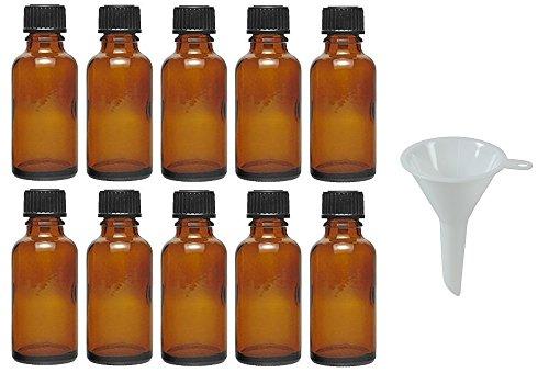 Viva Haushaltswaren - 10 x Tropfflasche 30 ml, Mini Glasflaschen mit Tropfeinsatz aus Braunglas, als Apothekerflasche verwendbar - Made in Germany & BPA frei (inkl. Trichter Ø 5 cm)