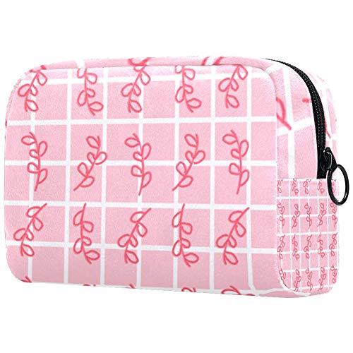 Trousse de toilette portable personnalisable pour femme avec une longue chaîne de feuilles roses