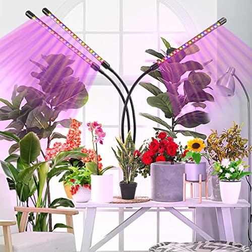 Pflanzenlampe LED, 3 Köpfe Pflanzenlicht Grow Lampe Pflanzenleuchte Rot&Blau Einstellbare Klemmleuchte mit Zeitschaltuhr für Zimmerpflanzen Gartenarbeit Bonsais