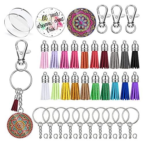 YOKOKO Acrylic Keychain Blanks Transparent Circle Discs DIY Keychain Colourful Tassel Pendant Keyring for DIY Crafts