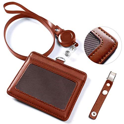 id カードホルダー ネームホルダー レザー パスケース 伸縮リール式 ネックストラップ バンドクリップ 付き 社員証 名札 定期入れ ケース 横型 メンズ&レディース 機能性 プレゼント ポケット二つ 赤褐色 By VIAKY