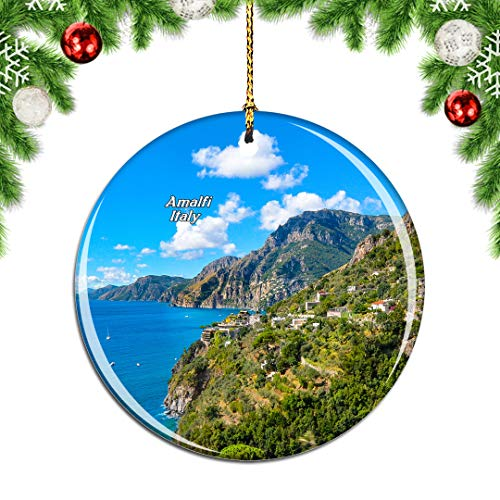 Weekino Amalfi Sorrento Italy Christmas Xmas Tree Ornament Decoration Hanging Pendant Decor City Travel Souvenir Collection Double Sided Porcelain 2.85 Inch