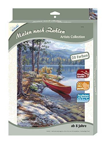 Mammut 107004 - Malen nach Zahlen Artists Collection - Boot am See, ca. 22,8 x 30,4 cm