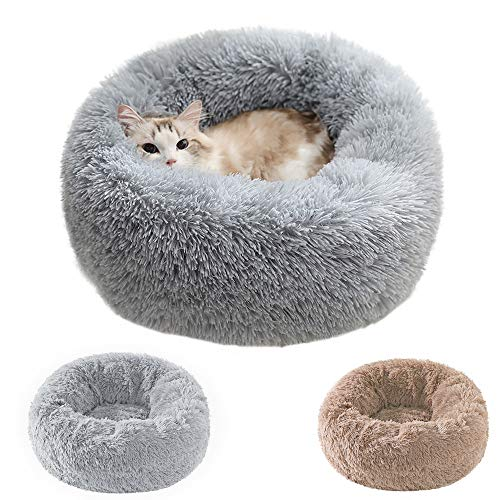 cat beds Cat Beds for Indoor Cats, Donut Cuddler Dog Bed Comfy Fluffy Washable Calming Cat Beds, Dog Bed for Small Dogs Up to 22 lbs 20''X20''