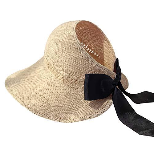 Aprimay Gorra de verano para mujer, sin cabeza, plegable, ala ancha, para playa