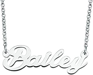 Bailey Name Necklace Custom Personalized in Silver Plate Gift for Women Girls Couple
