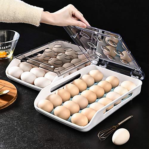 WANGQI Fridge - Huevera para nevera, 21 soportes para huevos, apilable, para frigorífico, caja transparente con tapa