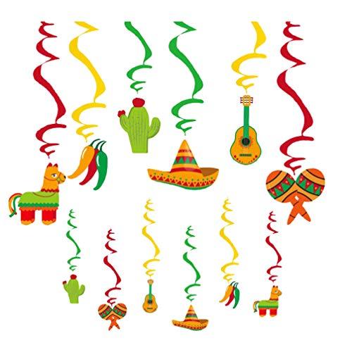 PRETYZOOM 12 stks Fiesta opknoping Swirl Chili Sombrero Pinata Cactus Gitaar Maracas Decoraties voor Mexicaanse Partij Fiesta Cactus Verjaardag Baby Douche Cinco De Mayo Party benodigdheden