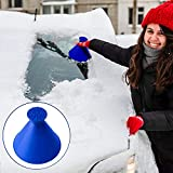 WELLXUNK® Raspador de Hielo Embudo, 2 en 1Rasqueta Hielo Coche, Eliminación De Nieve Embudo Cepillo De La Pala De Nieve del Coche, Remueve Hielo y Escarcha del Parabrisas y Ventanillas (Azul)
