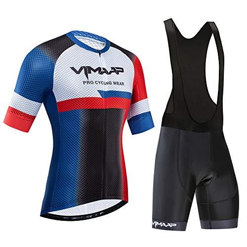 IJNUHB fietsshirt voor heren, fietsshirt met korte mouwen, fietskleding, fietsjack voor jongens, korte broeken met drie zakken, ademend 19D siliconen zitkussen