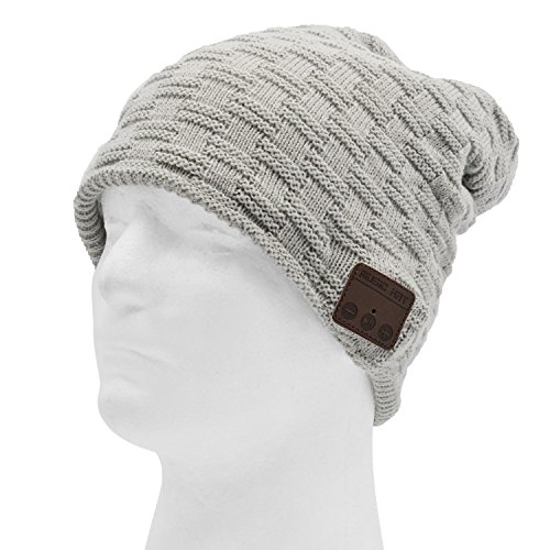 kappe Mit Musik,Sopear Unisex Wireless Bluetooth Smart Musik Freisprecheinrichtung Lautsprecher Hut Winter Beanie Mütze für Huawei Xiaomi iPad iPhone 6 7 Galaxy S7 Rand Handy Tablet Computer Hell Grau