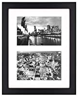 Golden State Art, 8x10 Black Photo Wood Collage Frame with Real Glass and White Mat displays (2) 4x6 Pictures [並行輸入品]