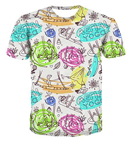 ZRCYH Yoga Abstracto Camiseta Unisex para Hombre con Estampado 3D de Secado rápido, Cuello Redondo, Manga Corta, Camiseta gráfica Informal de Verano-XS