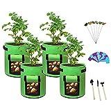 Paquete de 4 Bolsas de Cultivo de 10galones,Bolsas de Cultivo de Plantas Resistentes y Gruesas,Bolsas de Cultivo de Tela no Tejida,macetas de plantación de macetas de jardín con Asas y Ventana Grande