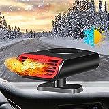 Calefactor para coche de 12 V, 150 W, 2 en 1, portátil, para limpiar el parabrisas, anticongelante, con soporte giratorio de 360°, termostato ajustable, enchufable en el encendedor del coche