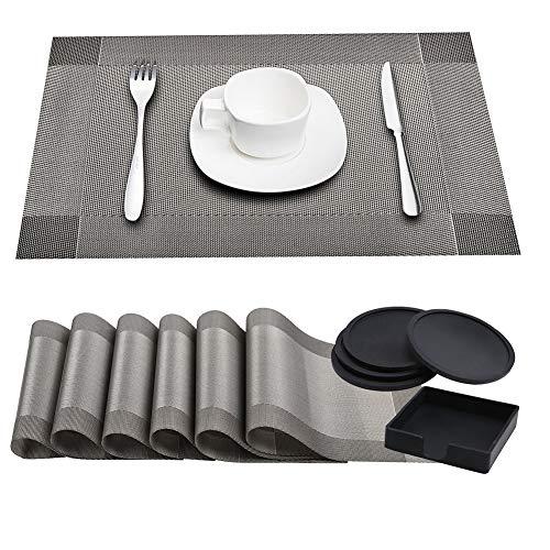 6 pack tovagliette termoresistibili lavabili + 4 pack supporto rotondo nero sottobicchiere tazza in silicone, pastiglie tavolo in vinile per tavolo da pranzo cucina tazza decorazione tazza (grigio)