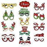 Gafas de fiesta navideñas con marco de vidrio brillante para niños, estilos surtidos (12...