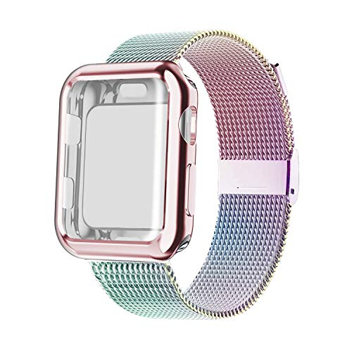 YC YANCH Band Compatible with Apple Watch 42mm with Case, Stainless Steel Mesh Loop Band with Apple Watch Screen Protector Compatible with iWatch Series 1/2/3/4/5/6/SE (42mm Colorful)